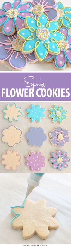 How to make Flower Sugar Cookies decorated with royal icing and nonpareil sprinkle centers! Summer Cookies, Fancy Cookies, Iced Cookies, Cute Cookies, Easter Cookies, Holiday Cookies, Cupcake Cookies, Cupcakes, Cookie Icing