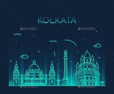 Kolkata Skyline Trendy Vector Illustration Linear by gropgrop Kolkata skyline detailed silhouette Trendy vector illustration linear style