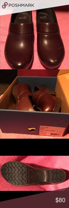 Dansko Dansko Raisin/Brown worn once in original box. For those who stand on your feet for long periods, these are excellent for posture support. I'm a nurse and own 6 pair. Dansko Shoes Mules & Clogs