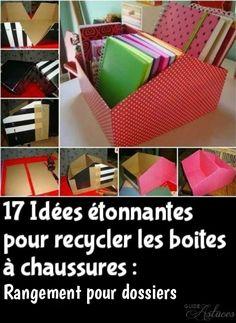 17 Idées étonnantes pour recycler les boites à chaussures :Rangement pour dossiers