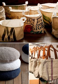bags, storage baskets and poufs handmade using coffee sacks and french linen. by a thoughtful spot