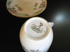 Early Shelley Strand Shaped Motif Cup and Saucer by shelleychinaca