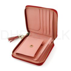 With Alice Think About W Accordion Card Wallet Faux Leather Card Case