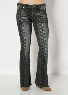 image of Bohemia Printed Flare Jean