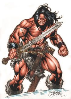 Conan Commission by Buchemi on DeviantArt Comic Book Characters, Comic Character, Comic Books Art, Comic Art, Character Design, Warrior King, Fantasy Warrior, Red Sonja, Fantasy Story