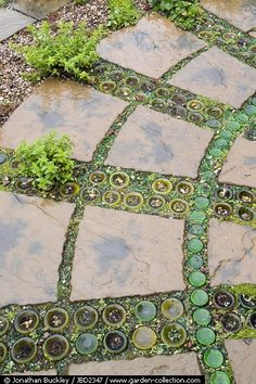 Path • upturned bottles and stone slabs