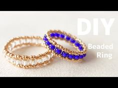Diy Beaded Rings, Diy Rings, Beaded Jewelry, Art Deco Diamond, Diamond Brooch, Bugle Beads, Seed Beads, Metal Jewelry Making, Ring Tutorial