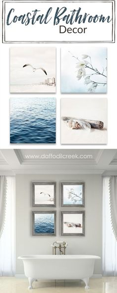 Coastal Bathroom Décor for your Beach House. Soothing colors and rustic textures bring a lovely cozy feeling to your coastal bathroom. Cottage Style Homes, Beach Cottage Style, Beach Cottage Decor, Coastal Cottage, Coastal Living, Coastal Bathroom Decor, Coastal Decor, Coastal Style, Bathroom Ideas