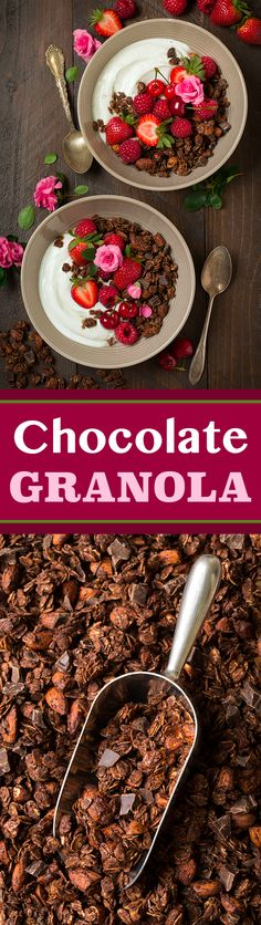 Chocolate Almond Granola - chocolate for breakfast!!! This stuff is addictive and it's made with healthy ingredients.
