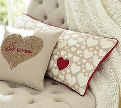 CUTE LOVE pillows from Pottery Barn