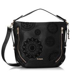 #Desigual Tasche - Modell Alex. Muster: ton-in-ton Mandala, schwarz.