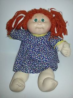 Vintage Cabbage Patch Doll Red Hair Green Eyes Blue Xavier Roberts 85