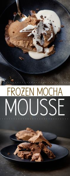 Frozen Mocha Mousse If you don't have an ice cream maker, fear not! This Frozen Mocha Mousse with fresh whipped cream is the perfect dessert for a crowd. Homemade Desserts, Best Dessert Recipes, Frozen Desserts, Summer Desserts, Frozen Treats, No Bake Desserts, Sweet Recipes, Delicious Desserts, Dessert Ideas