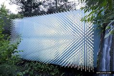 """""""SOL Grotto"""": Alongside a creek in the Berkeley Botanical Garden, this art installation features 1,368 high tech glass tubes that not only transmit a kaleidoscopic array of light to the interior space, but also amplify the sounds of the nearby waterfall; Berkeley, California. 