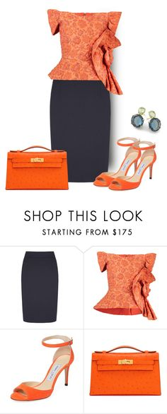 """Navy And Orange"" by sjlew ❤ liked on Polyvore featuring Bambah, Jimmy Choo, Hermès and Ippolita"