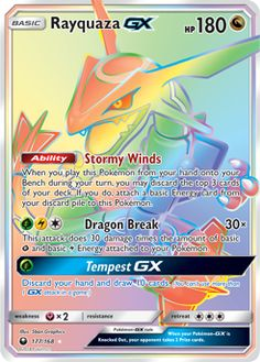 Rayquaza GX (G)(E)(C) Dragon Break : The attack does 30 damage times the amount of basic Grass and Electric Energy attached to your Pokemon. Pokemon Card Memes, Cool Pokemon Cards, Rare Pokemon Cards, Pokemon Trading Card, Pokemon Rayquaza, Pokemon Plush, O Pokemon, Pokemon Fusion, Tous Les Pokemon