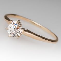 Old Euro diamond vintage engagement ring
