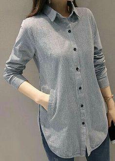 Stripe Print Button Up Grey Long Sleeve Shirt on sale only U Kurta Designs Women, Blouse Designs, Grey Long Sleeve Shirt, Grey Shirt, Stil Inspiration, Hijab Fashion, Fashion Outfits, Trendy Tops For Women, Kurti Designs Party Wear