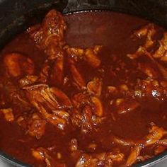 Chicken mole with red chile in my crock pot Mexican Chicken Mole, Mexican Mole Sauce, Chicken Mole Recipe, Chicken Recipes, Mexican Dishes, Mexican Food Recipes, Chilli Recipes, Crockpot Recipes, Cooking Recipes