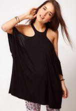 Black Off the Shoulder Backless Batwing T-Shirt US$22.00