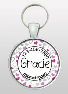 CUTE!! Custom Personalized Girly Dog Tag -  Microchip Alert or 2 phone numbers.  $8.95