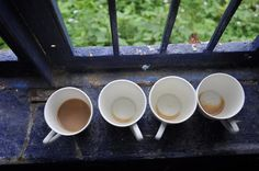 Maharashtra, India, August 2016. Empty cups after a masala chai break.