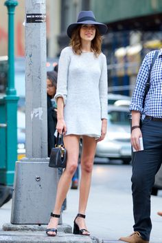 Alexa Chung in hat, pastel mini dress by Calvin Klein and sandals - #streetstyle