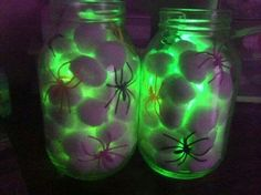 Spider eggs / nest jars .. all you need is a mason jar, cotton balls, dollar store spiders & a glow stick!