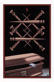 10 of swords, Vampire Tarot, by Robert Place The Hanged Man, Love Tarot, Witch Spell, Tarot Learning, Tarot Card Meanings, Tarot Spreads, Card Reading, Tarot Decks, Tarot Cards