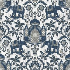 Galerie Wallpapers Indo Chic Blue Elephants Wallpaper