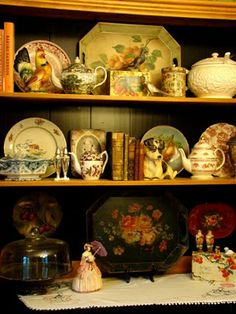english cottage style china display