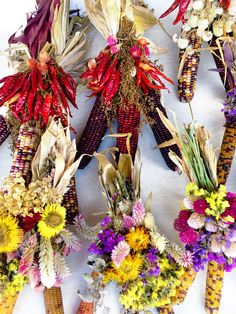 Got to love my job sometimes, spending the afternoon like an arts & crafty stepford wife glue gunning dried flowers & chilly peppers to Indian Corn bouquets 🍁🌶💐🌽