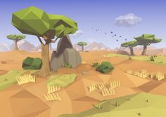 Some Low Poly landscape illustrations we created for our next animation film.