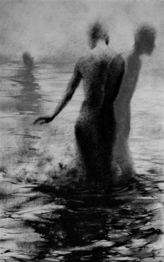 """Clara Lieu, """"Unseen II"""", lithographic crayon on Dura-Lar, 48"""" x 30"""", 2008. This drawing is from """"Wading"""", a project that presents the most severe form of isolation as loneliness that is experienced when physically surrounded by other people.  These works depict figures wading in an infinite and undefined body of water.  I visually portray loneliness as the experience of feeling unseen and unknown within a group."""