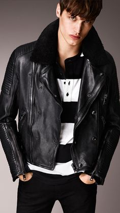 Shearling Topcollar Leather Jacket | Burberry