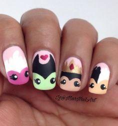 Disney Acrylic Nails, Summer Acrylic Nails, Cute Acrylic Nails, Funky Nail Art, Cute Nail Art, Cute Nails, My Nails, Nail Polish Designs, Nail Art Designs