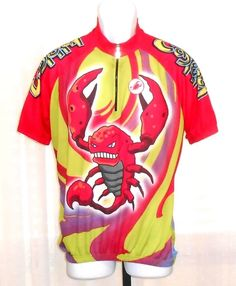 07f610f07 Castelli Fighting Scorpion Red Short Sleeve Bicycle Jersey Italy Size XL