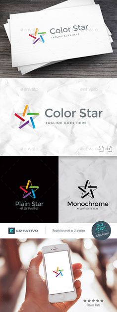 Color Star Logo Template by empativo Modern, versatile and stylish logo template. Ideal for a wide range of uses. Features  100% vector. Easy to edit color / text