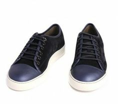 6fd885daaf5 SALE Men's Lanvin Leisure Sneakers Black Suede Navy Patent Captoe Low-top  Shoes 60%