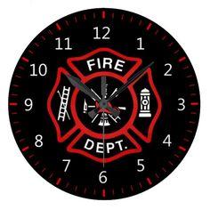 Fire Department Badge Round Clock