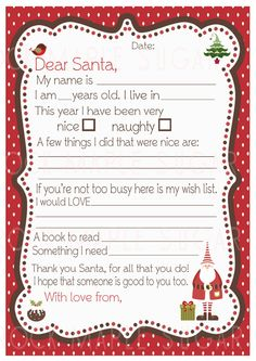 Printable Dear Santa  letter  International A4 by RockMapleSugar, €3.00