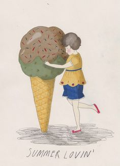 """summer lovin'"" by katey-jean harvey Ice Cream Illustration, Kawaii Illustration, Painting Wallpaper, Painting Art, Paintings, Ice Cream Art, Isometric Art, Art Inspiration Drawing, Art Drawings"