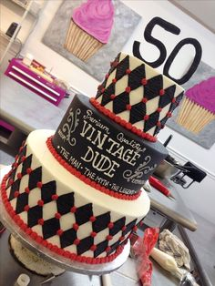 15 50th birthday cake - vintage dude - for a man - Shelterness
