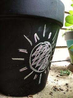 Bloempot (gedeeltelijk) verven met krijtverf + opschrijven welke plant/kruid erin zit
