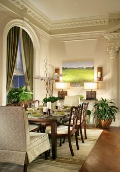 Pretty formal dining room by Diane Durocher Interiors.