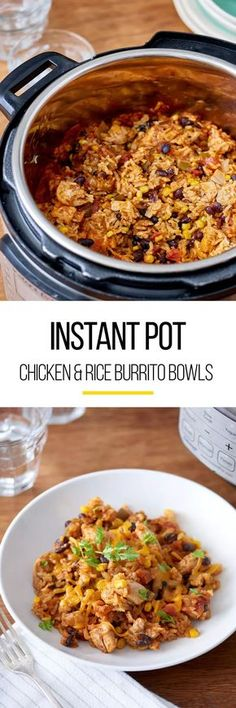 Instant pot recipes are simple one and done meals that you can leave it and love it by dinner time. This instant pot chicken and rice burrito bowl is just what you need to make weeknight meals Crock Pot Recipes, Cooking Recipes, Cheese Recipes, Beef Recipes, Recipies, Rice Recipes, New Chicken Recipes, Mexican Food Recipes, Recipe Chicken