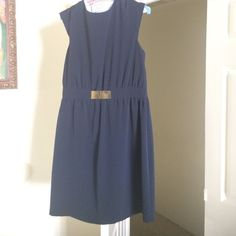 Clearance!!! Zara dress Navy blue dress with a gold plate in front. Zip in the back. To the knee. Classy and chic Zara Dresses Midi