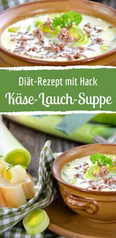 Leckere, kalorienarme Käse-Lauch-Suppe Delicious, low-calorie cheese and leek soup Healthy Eating Tips, Healthy Snacks, Healthy Recipes, Healthy Nutrition, Low Calorie Cheese, Low Carb, Slow Cooker Meat Recipes, Leek Soup, Vegetable Drinks