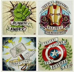Vintage Marvel Avengers Tats. I would get the Captain one