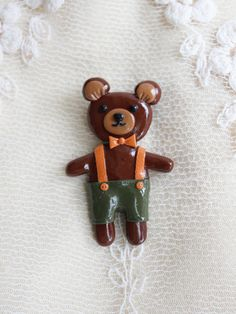 Teddy Bear brooch Brown Teddy Bear Brown-bear Animal jewelry Gift for her Summer brooch Summer outdoor Summer party
